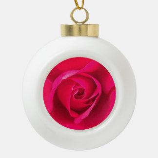 Romantic Red Pink Rose v2 Ceramic Ball Decoration