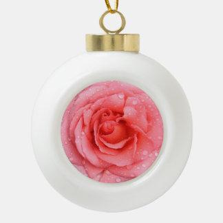 Romantic Red Pink Rose Water Drops Ceramic Ball Christmas Ornament