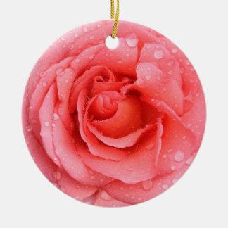 Romantic Red Pink Rose Water Drops Ceramic Ornament