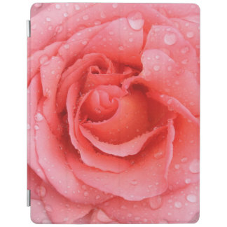 Romantic Red Pink Rose Water Drops iPad Cover