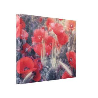 Romantic Red Poppy Field Modern Wall Art
