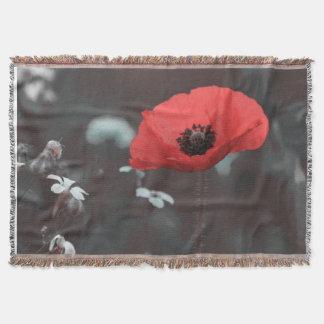 Romantic Red Poppy Flower Nature Throw Blanket