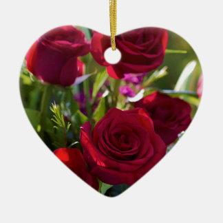 Romantic Red Rose Bouquet Ceramic Heart Decoration