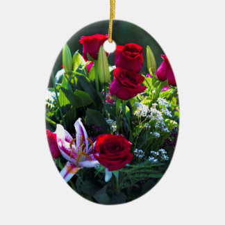 Romantic Red Rose Bouquet Ceramic Oval Decoration