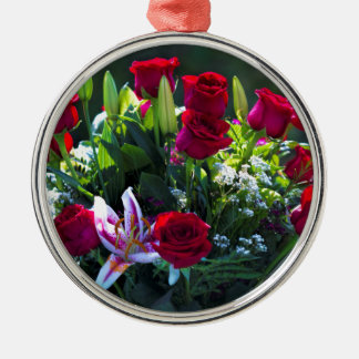 Romantic Red Rose Bouquet Silver-Colored Round Decoration
