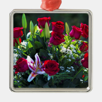 Romantic Red Rose Bouquet Silver-Colored Square Decoration