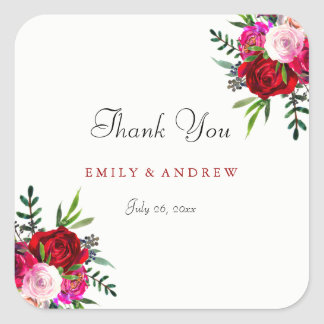 Romantic Red Rose Wedding Thank You Sticker