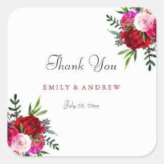 Romantic Red Rose Wedding Thank You Sticker