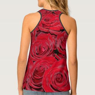 Romantic Red Roses Love Flowers, Floral Singlet