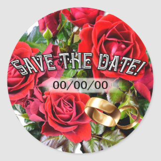 Romantic Red Roses ~ Save the Date Sticker