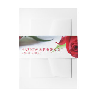 Romantic Red Roses Wedding Invitation Belly Band