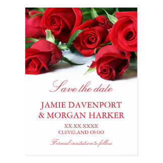 Romantic Red Roses Wedding Save the Date Postcard