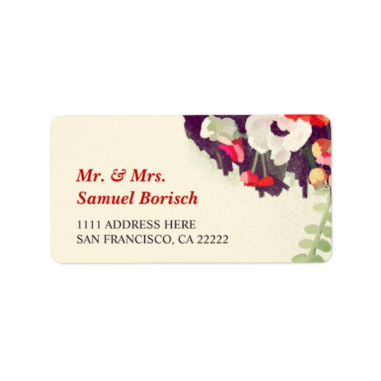 Romantic Red White Floral Art Return Address Label
