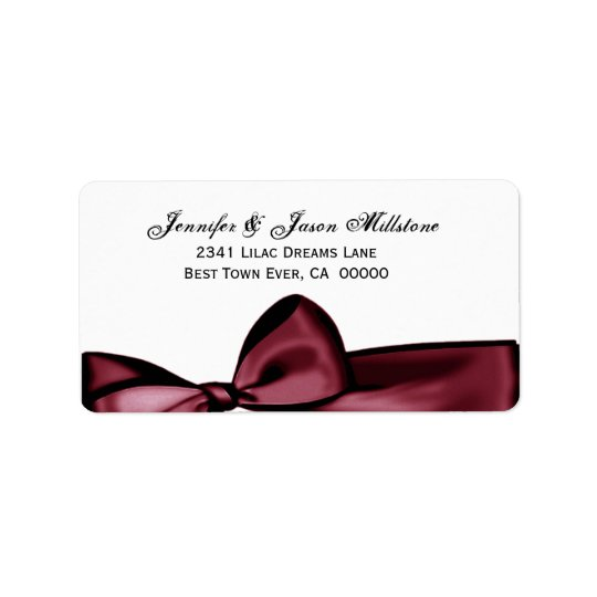 Romantic Red Wine Bow Wedding Label Address Label