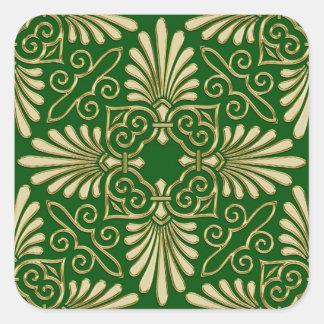 Romantic Retro Art Deco Damask Green Gold 01 Square Sticker