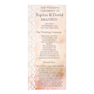 Romantic Rose and Lace Wedding Program Custom Personalized Rack Card