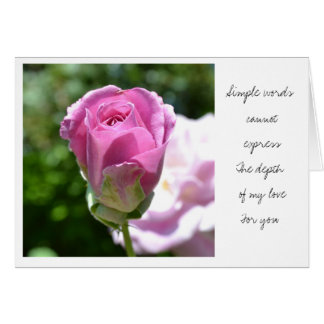 Romantic Rose Bud I Love You Card