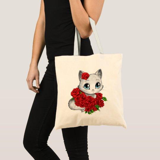 Romantic Rose Cat Tote Bag by Mei Yu