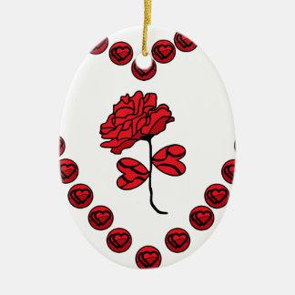 romantic rose ceramic oval decoration