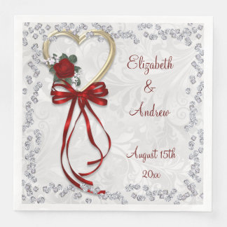 Romantic Rose, Diamonds & Red Ribbon Engagement Disposable Napkins