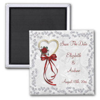 Romantic Rose, Diamonds & Red Ribbon Save The Date Square Magnet