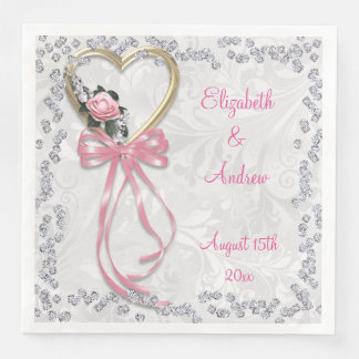 Romantic Rose, Diamonds & Ribbon Engagement Paper Napkin