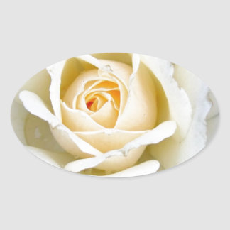Romantic Rose Floral  Wedding Oval Sticker