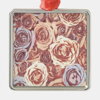 Romantic Rose Garden Silver-Colored Square Decoration