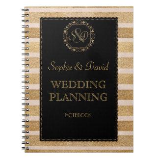 Romantic Rose Gold Fall Wreath Wedding Planner Notebook