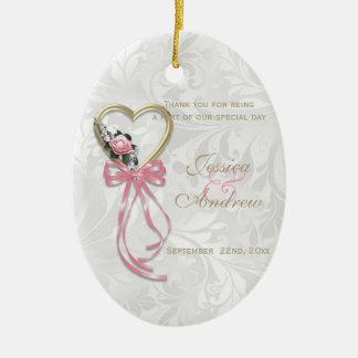 Romantic Rose, Gold Heart & Pink Ribbon Ceramic Ornament