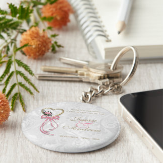 Romantic Rose, Gold Heart & Pink Ribbon Key Ring