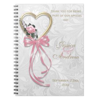 Romantic Rose, Gold Heart & Pink Ribbon Notebook