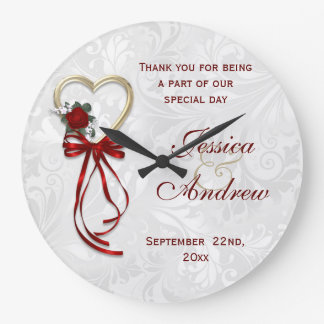 Romantic Rose, Gold Heart & Red Ribbon Large Clock