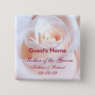 Romantic Rose Personalized Wedding Button