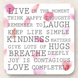 Romantic Rose Petals inspirational words Beverage Coaster