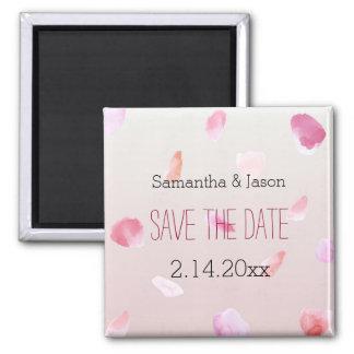 Romantic Rose Petals Save the Date Square Magnet