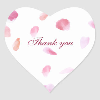 Romantic Rose Petals thank you Heart Sticker