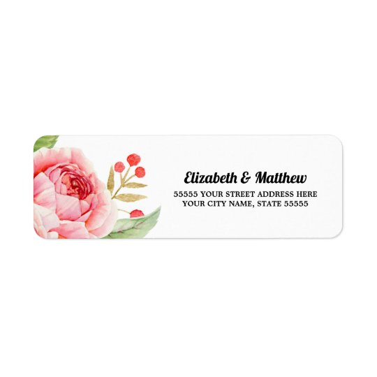 Romantic Rose Return Address Labels