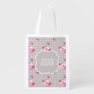 Romantic Rose Reusable Grocery Bag Custom Name