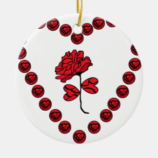 romantic rose round ceramic decoration