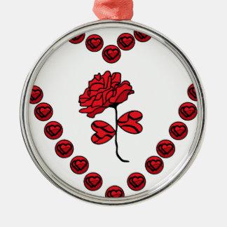 romantic rose Silver-Colored round decoration