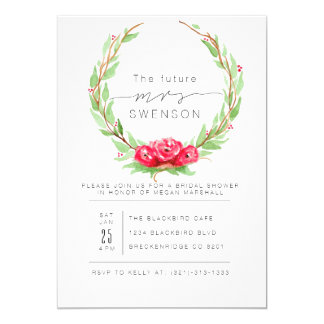 Romantic Rose Watercolor Wreath   Bridal Shower Card