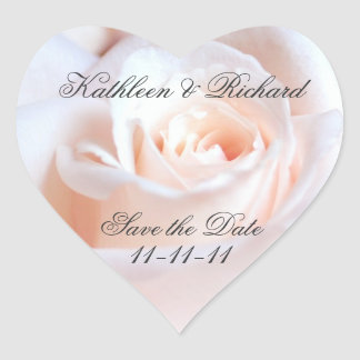 Romantic Rose Wedding Heart-shaped Labels
