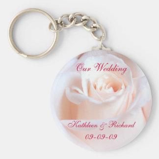 Romantic Rose Wedding Key Ring Basic Round Button Key Ring