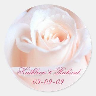Romantic Rose Wedding Labels Round Sticker