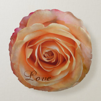 Romantic Rose with custom text Round Cushion