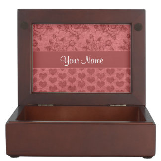 Romantic Roses and Hearts Canvas Effect Keepsake Box