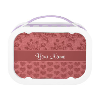 Romantic Roses and Hearts Canvas Effect Lunchboxes