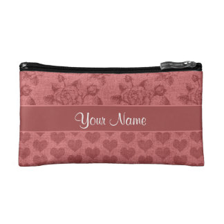 Romantic Roses and Hearts Canvas Effect Makeup Bag