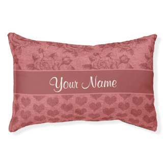 Romantic Roses and Hearts Canvas Effect Pet Bed